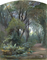 im park der villa chigi bei ariccia by jean achille bénouville