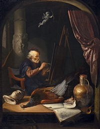 alter maler in seinem atelier by gerrit dou