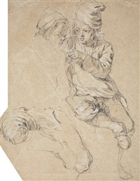 sketch of two young boys (+ study of an arm, verso) by etienne jeaurat