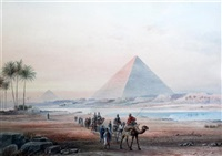 camel train before the pyramids by frederick goodall