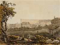 a roman landscape with the colosseum and figural staffage by carlo labruzzi