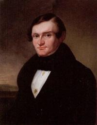 porträtt av john gustaf strömberg klädd i svart rock och vit skjorta, i fonden landskap by carl vilhelm nordgren