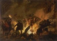 slagscene med vikinger by niels anker lund
