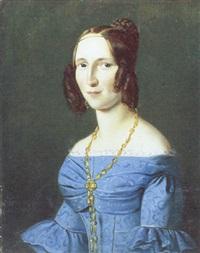 portræt af ung kvinde i lyseblå kjole by johann heinrich richter