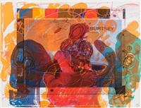 surtsey-dinner (folge von 18 unikatdrucken in halbleinenmappe mit wiedergabe des korrigierten andruckbogens.) by dieter roth