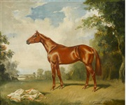 a chestnut horse in a landscape by raoul millais