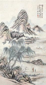 柳溪垂钓 立轴 纸本 by huang shanshou