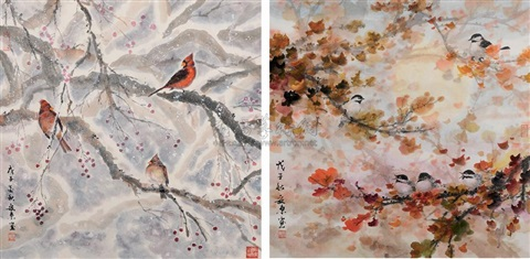 birds flowers 2 works by an dong