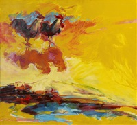 roosters in a vibrant abstract landscape by jere allen