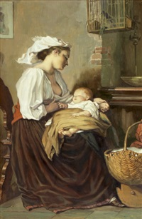 interieur mit mutter und ihrem kind by alfred gass