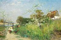 landskap med kvinna, fåglar och blommande fruktträd by vittorio avanzi