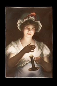 a young woman in nightdress illuminated by the light of a chamberstick by georges de latour