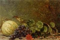 stilleben mit trauben, einer melone und einem zerbrochenen topf mit geranien by leopold van dijcke
