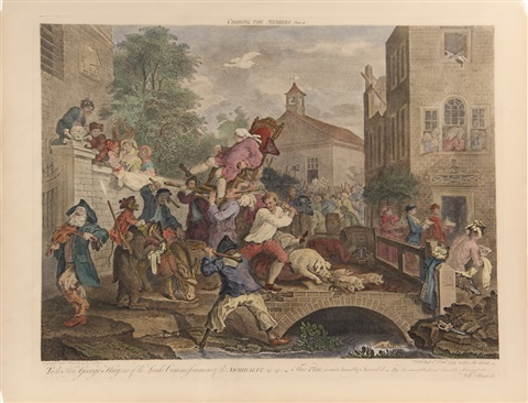an election entertainment, canvassing for votes, the polling, chairing the members (4 works) by william hogarth