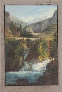 vue de la cascade du rhin (...) rofflen & le pont du milieu de la via mala (pair) by johann ludwig (louis) bleuler
