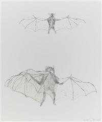 bird / bats (2 blatt graphikobjekte mit bearbeitetem planfilm, kombiniert mit auf) by kiki smith