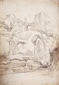 southern landscape with castle and bridge (+ landscape study, verso) by karel dujardin