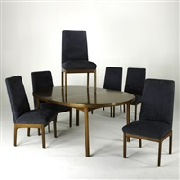 extension dining table and tall back chairs (7 works) by folke ohlsson