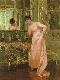 interiör med kvinna vid spegel by albert raudnitz