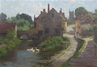 village scene with children on a lane and ducks on the river by john mallord bromley