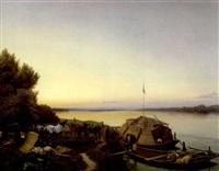 nächtliche rast der schiffer mit den treidelpferden mit vor anker liegendem boot by johann caspar köller