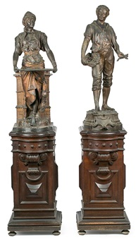 alegoría de la agricultura y sirvienta árabe (2 works) by f. milliol and louis hottot