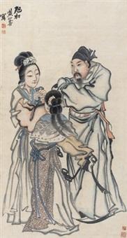 关羽拜嫂图 立轴 纸本 by huang shanshou