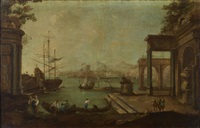 venetian harbor scene (3 works) by francesco guardi