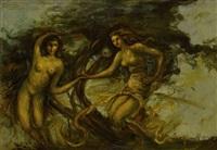 zwei tanzende frauen by rinaldo agazzi