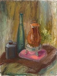 stilleben mit kaffeekanne und flaschen by alexander camaro