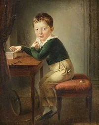 en lille dreng i blå jakke bygger et korthus by per krafft the younger