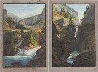 vue de la cascade du rhin (...) rofflen & le pont du milieu de la via mala by johann ludwig (louis) bleuler