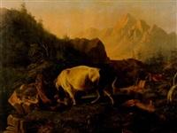 bergslandskap med stridante tjur och björn by paul jean pierre gélibert
