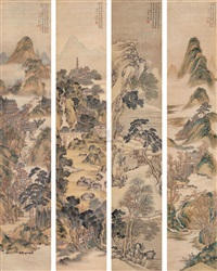 仿古山水 (landscape after ancient masters) (4 works) by xiang weiren