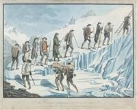 monsieur desaussure son fils & ses guides/arivant au... by henri lévêque