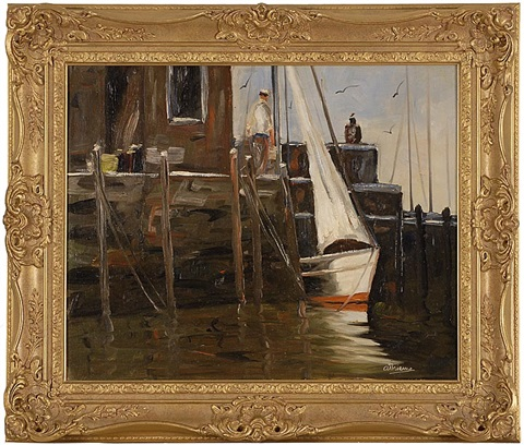dock scene with figures most likely in rockport massachusetts by anthony thieme