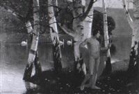 leierspieler in birkenwald an einem fluß by karl armbrust