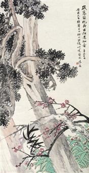 古柏长春 立轴 纸本 by wang kun