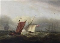 shipping at sea (pair) by thomas luny
