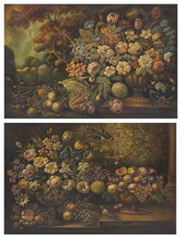 a pair of still lifes with fruit and flowers by continental school (19)