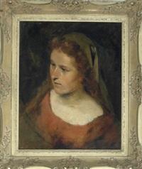 portrait eines jungen mädchens im roten, schulterfreien kleid mit schleier über den langen, offenen haaren by theodor alt