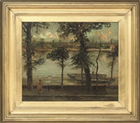 the thames and battersea from cheney walk, london by cecil gordon lawson