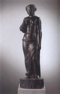 stehender weiblicher halbakt mit tier in der hand by gustave piguet