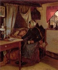 en mor ved datterens sygeseng by hans andreasen hessellund