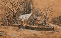 a woodland cottage in winter by samuel bough