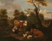 paisaje con ganado by dirk van bergen