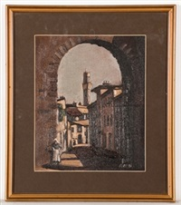 european street scene with stone archway by robert macbryde
