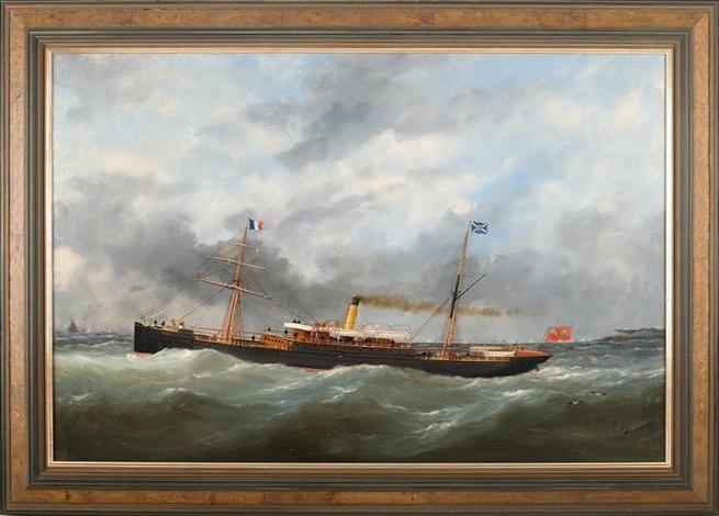 the canadian steam vessel quotolondaquot leaving cap de le hev le havre by marie edouard adam
