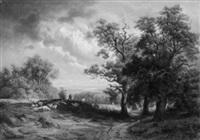 schäfer mit herde auf einer bewaldeten anhöhe. am horizont ein bayerischer see by wilhelm boshart