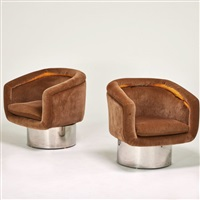 pair swivel lounge chairs by pace manufacturing (co.)
